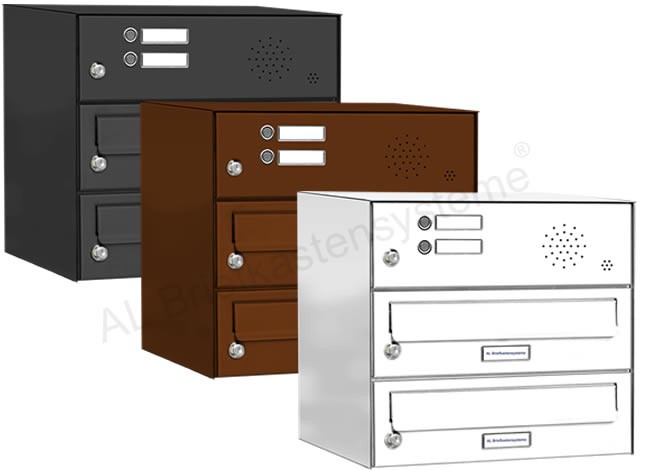 2er briefkasten anlage mit klingel taster pulverbeschichtet ebay. Black Bedroom Furniture Sets. Home Design Ideas