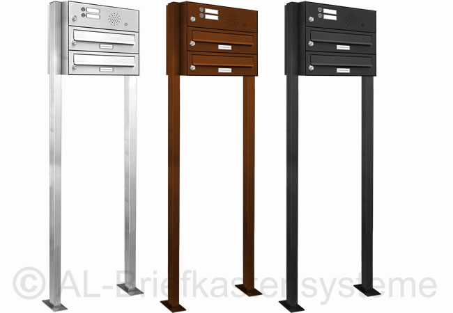 2er stand briefkasten anlage pulverbeschichtet mit klingel sprechanlage analog ebay. Black Bedroom Furniture Sets. Home Design Ideas