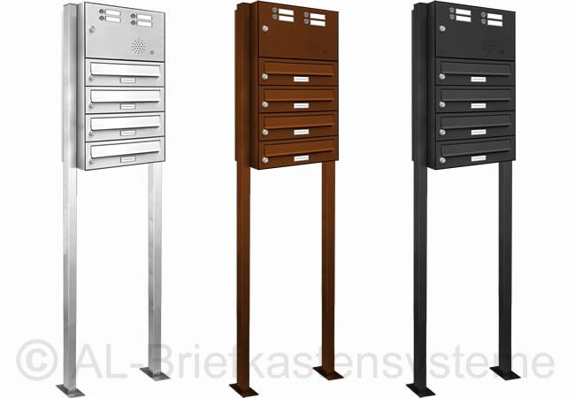 4er briefkasten standanlage pulverbeschichtet mit klingel. Black Bedroom Furniture Sets. Home Design Ideas