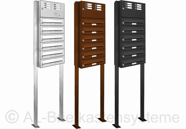 6er briefkasten standanlage pulverbeschichtet mit klingel sprechanlage digital ebay. Black Bedroom Furniture Sets. Home Design Ideas