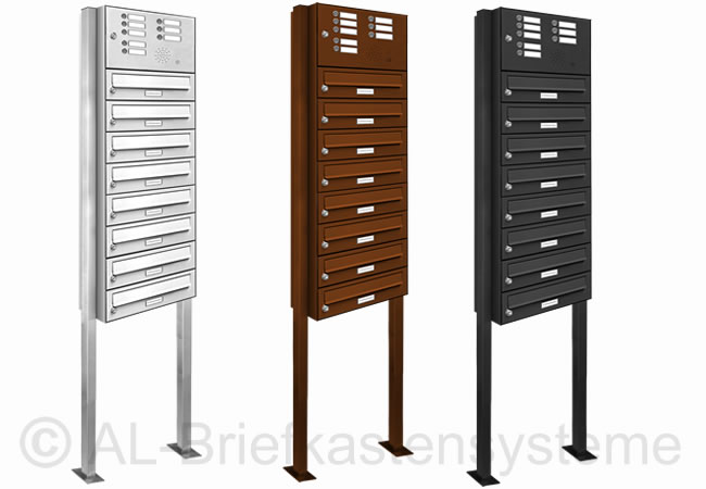 8er briefkasten standanlage pulverbeschichtet mit klingel sprechanlage analog ebay. Black Bedroom Furniture Sets. Home Design Ideas