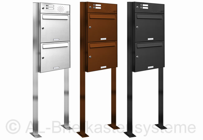 2er 2x1 briefkasten standanlage pulverbesch mit klingel sprechanlage analog ebay. Black Bedroom Furniture Sets. Home Design Ideas