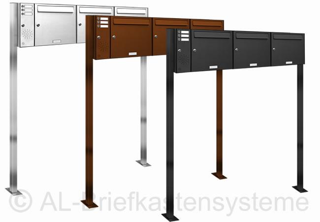3er 3x1 briefkasten standanlage pulverbesch mit klingel. Black Bedroom Furniture Sets. Home Design Ideas